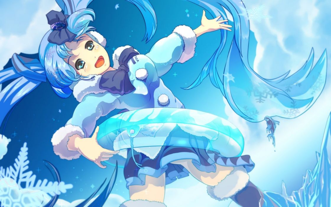 clouds Vocaloid Hatsune Miku ribbons thigh highs twintails inflatable Tube open mouth hair ribbons aqua eyes aqua hair skyscapes Yuki Miku hair ornaments Vocaloid Fanmade wallpaper