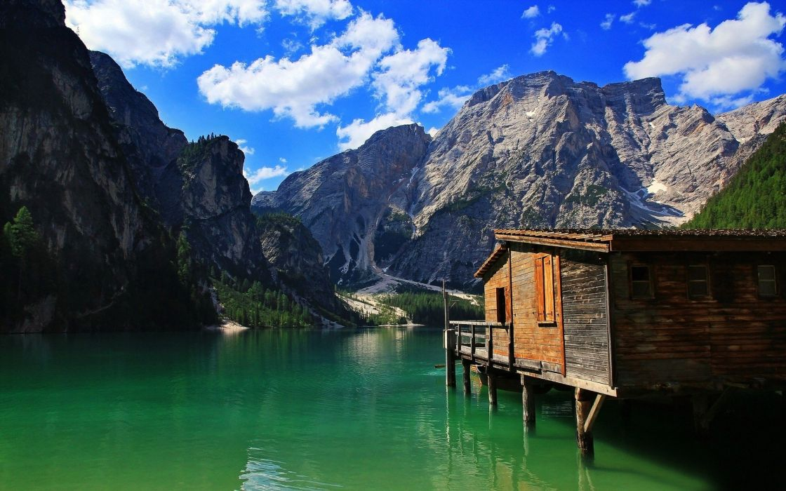 water mountains clouds landscapes nature cabin lakes blue skies wallpaper
