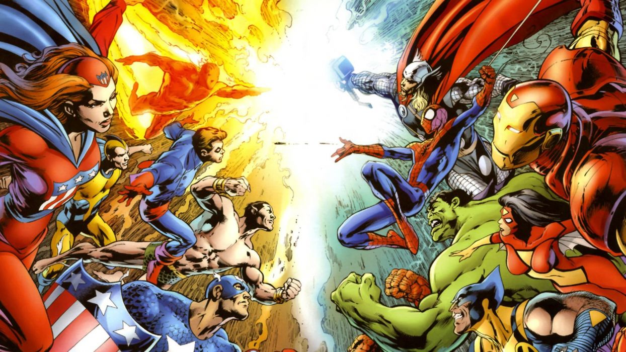 Hulk (comic character) Iron Man Thor Spider-Man Captain America Wolverine Marvel Comics Human Torch Spider-woman wallpaper