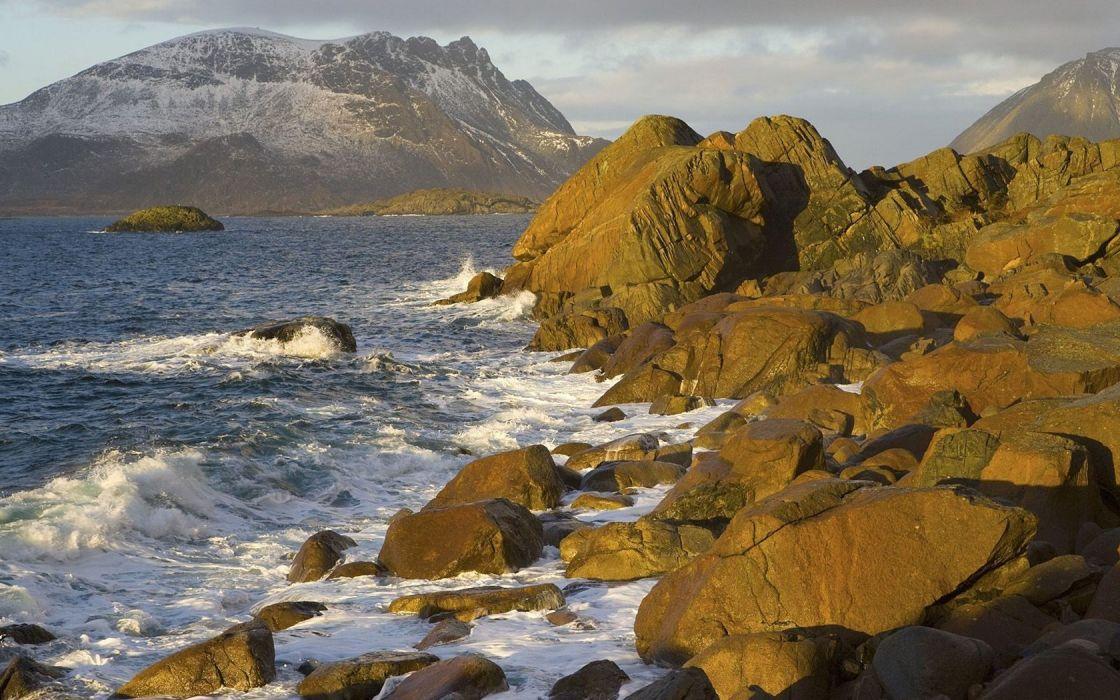 landscapes north Norway islands sea wallpaper