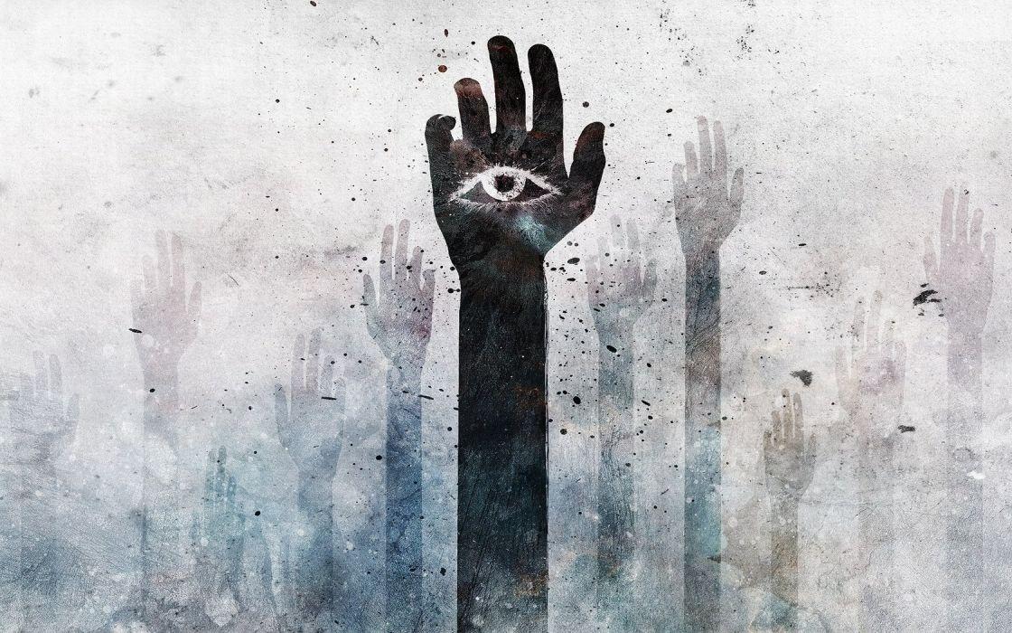 eyes black palm hands Alex Cherry wallpaper