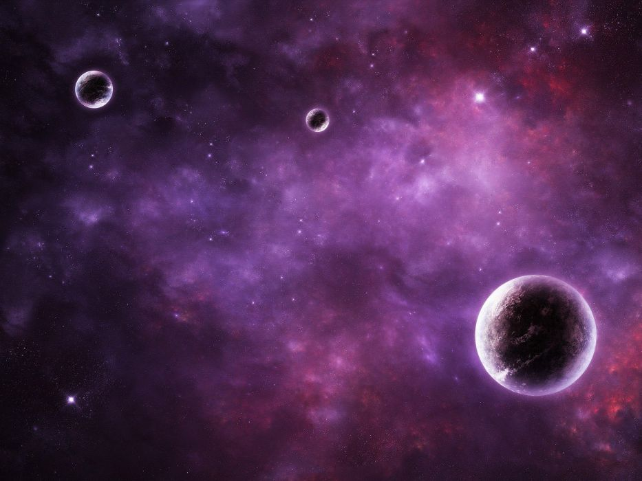 outer space stars pink galaxies planets purple nebulae wallpaper