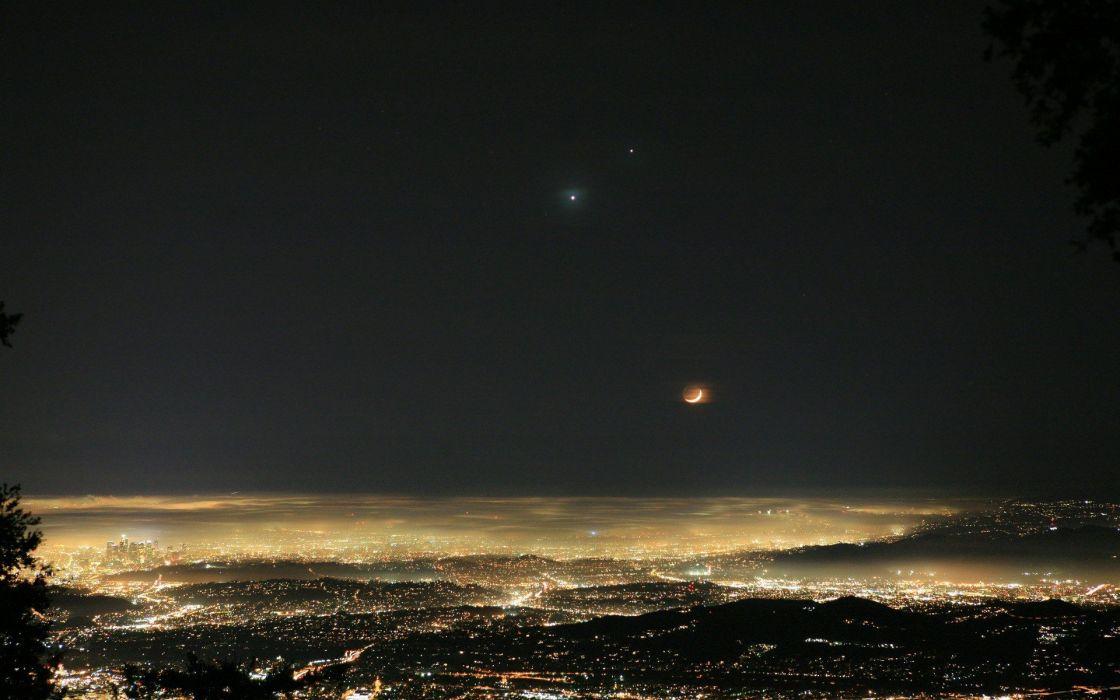 landscapes night lights stars Moon wallpaper