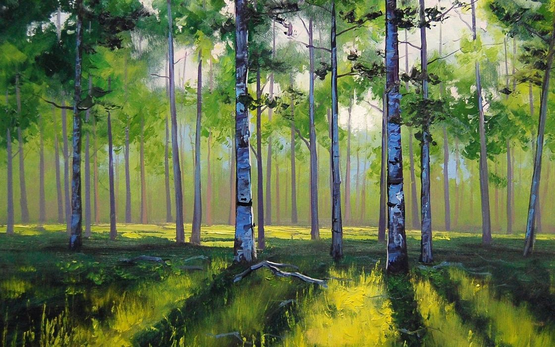 paintings landscapes forests wallpaper