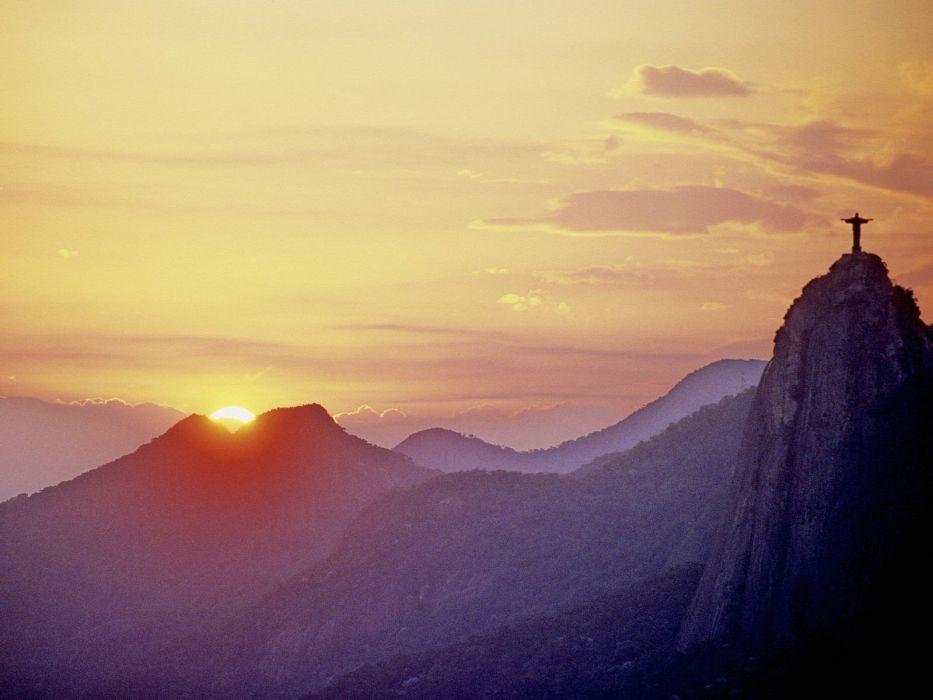 sunset silhouettes hills Brazil sunlight Rio De Janeiro Cristo Redentor Christ the Redeemer wallpaper