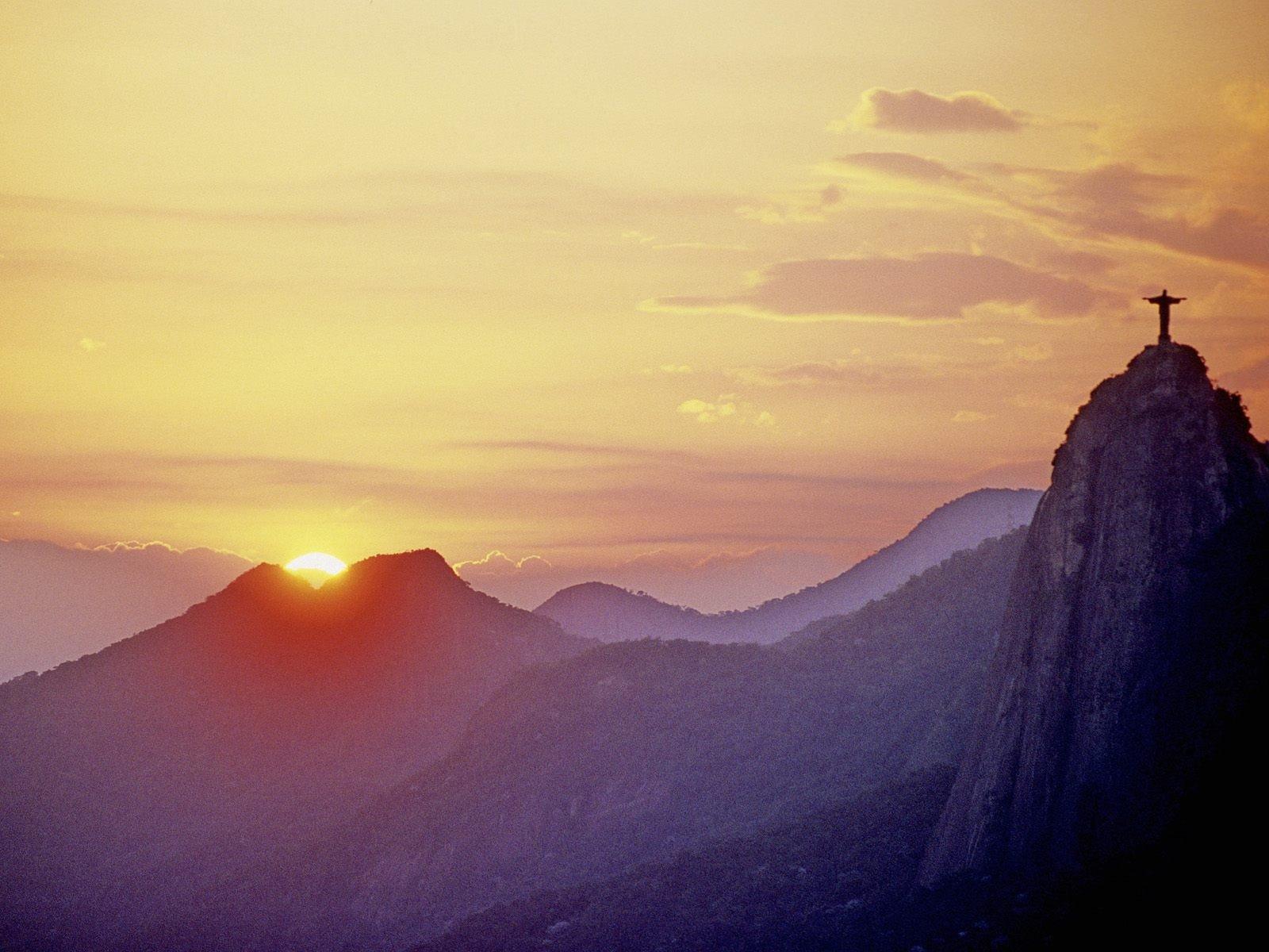 Sunset silhouettes hills Brazil sunlight Rio De Janeiro ...