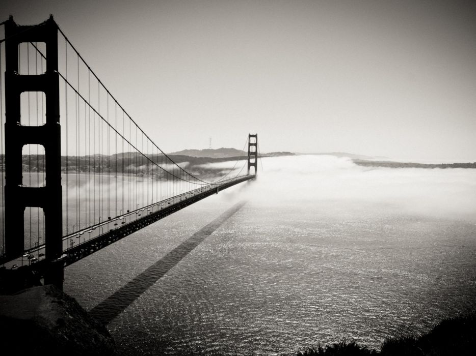 architecture fog bridges Golden Gate Bridge San Francisco grayscale wallpaper