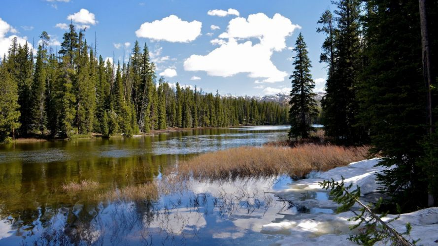 clouds landscapes nature trees forests rivers skyscapes land wallpaper