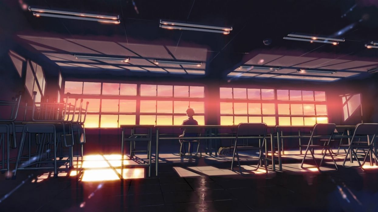 school classroom Makoto Shinkai lonely sunlight 5 Centimeters Per Second desks chill wallpaper