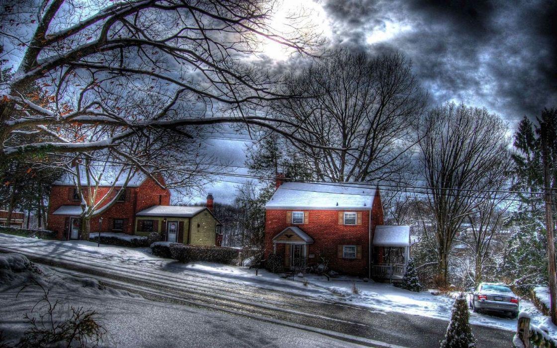 winter Sun HDR photography wallpaper