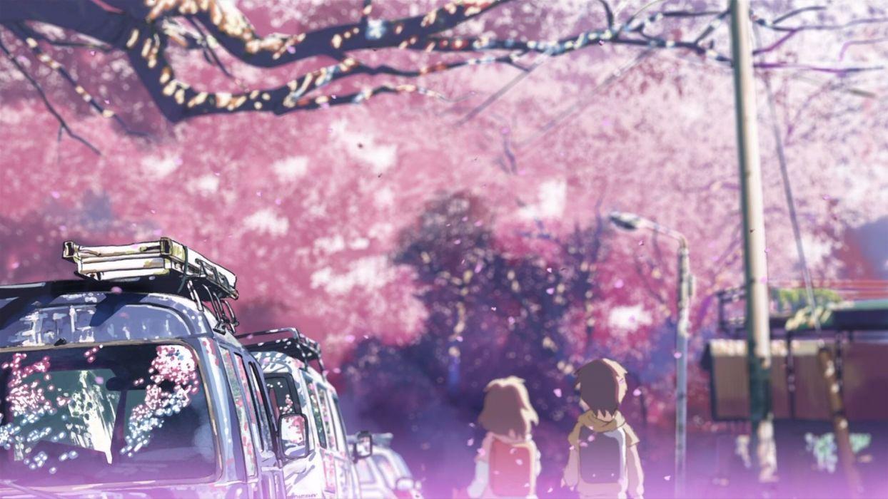 cherry blossoms Makoto Shinkai 5 Centimeters Per Second wallpaper
