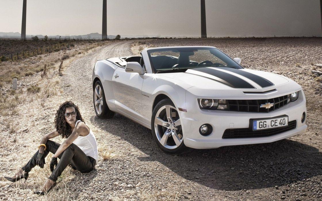 brunettes deserts muscle cars roads Chevrolet Camaro Chevrolet Camaro SS cabrio wallpaper