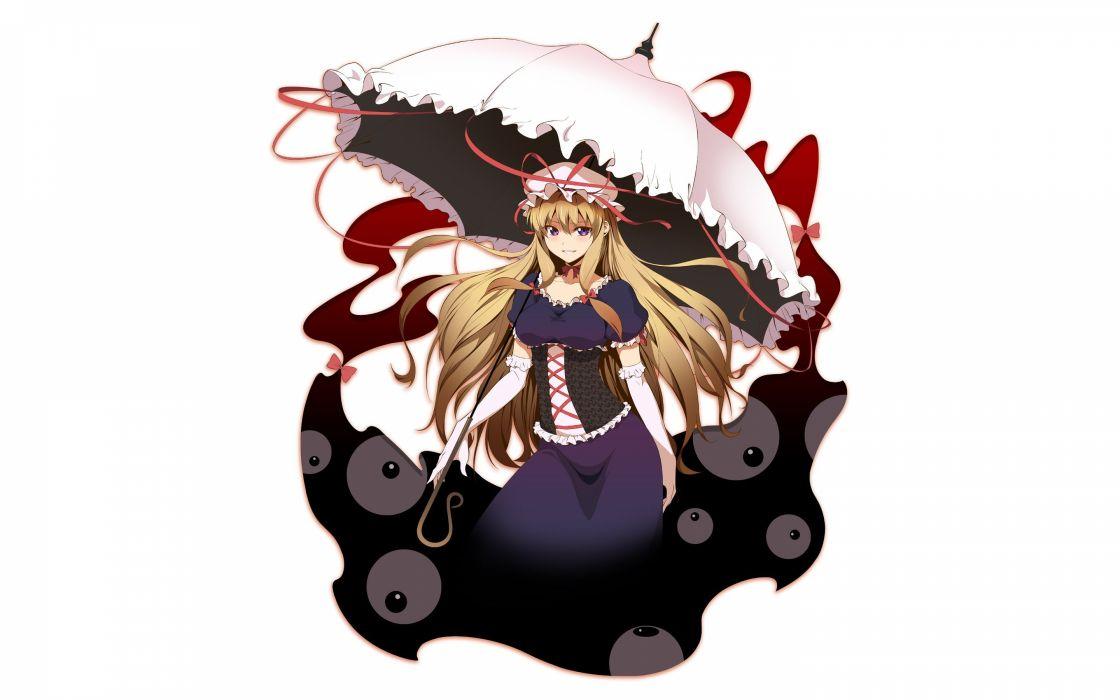 blondes video games Touhou gloves dress long hair ribbons corset Yakumo Yukari smiling bows umbrellas purple eyes hats simple background anime girls white background wallpaper