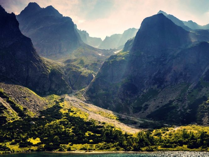 water mountains landscapes nature sunlight lakes wallpaper