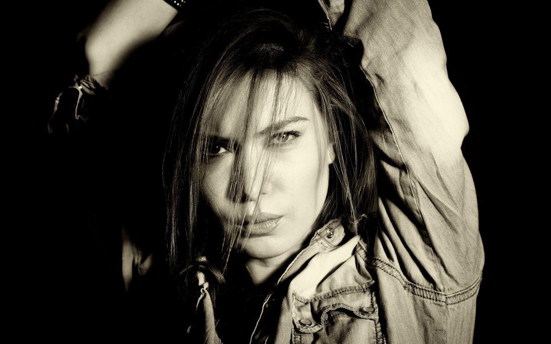 women models monochrome faces wallpaper