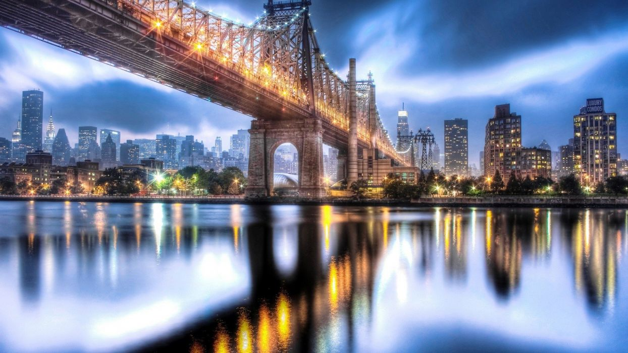 cityscapes lights bridges Manhattan skyscrapers city lights city night Roosevelt Island wallpaper