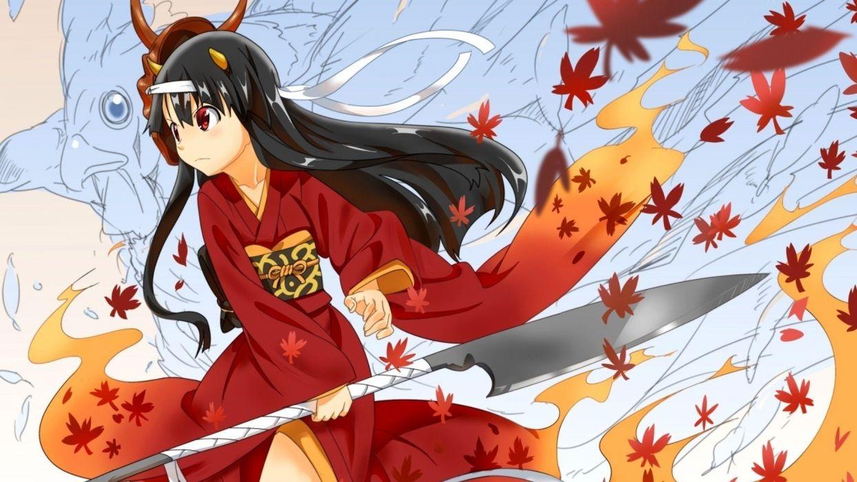 anime Japanese clothes anime girls Hinomoto Oniko wallpaper
