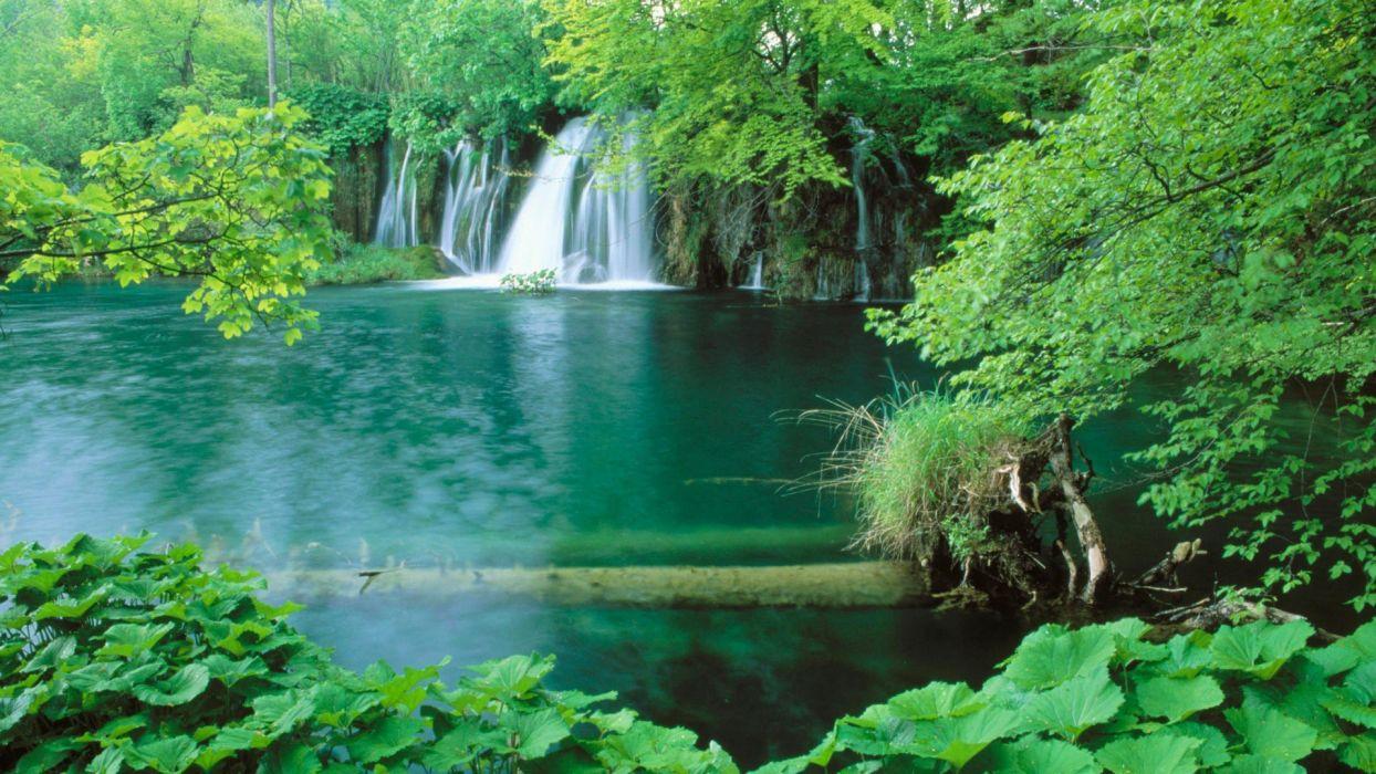landscapes Croatia lakes waterfalls National Park plitvice wallpaper