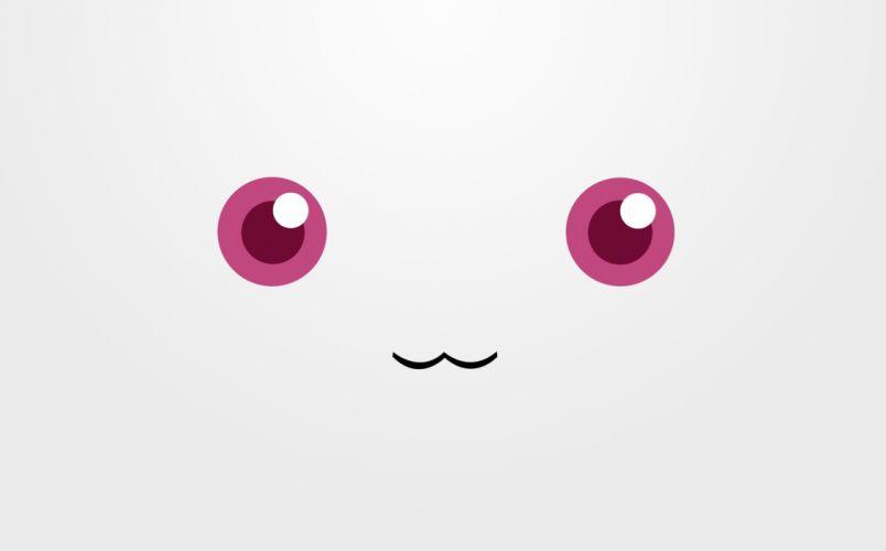 red eyes Mahou Shoujo Madoka Magica anime faces simple Kyubey wallpaper
