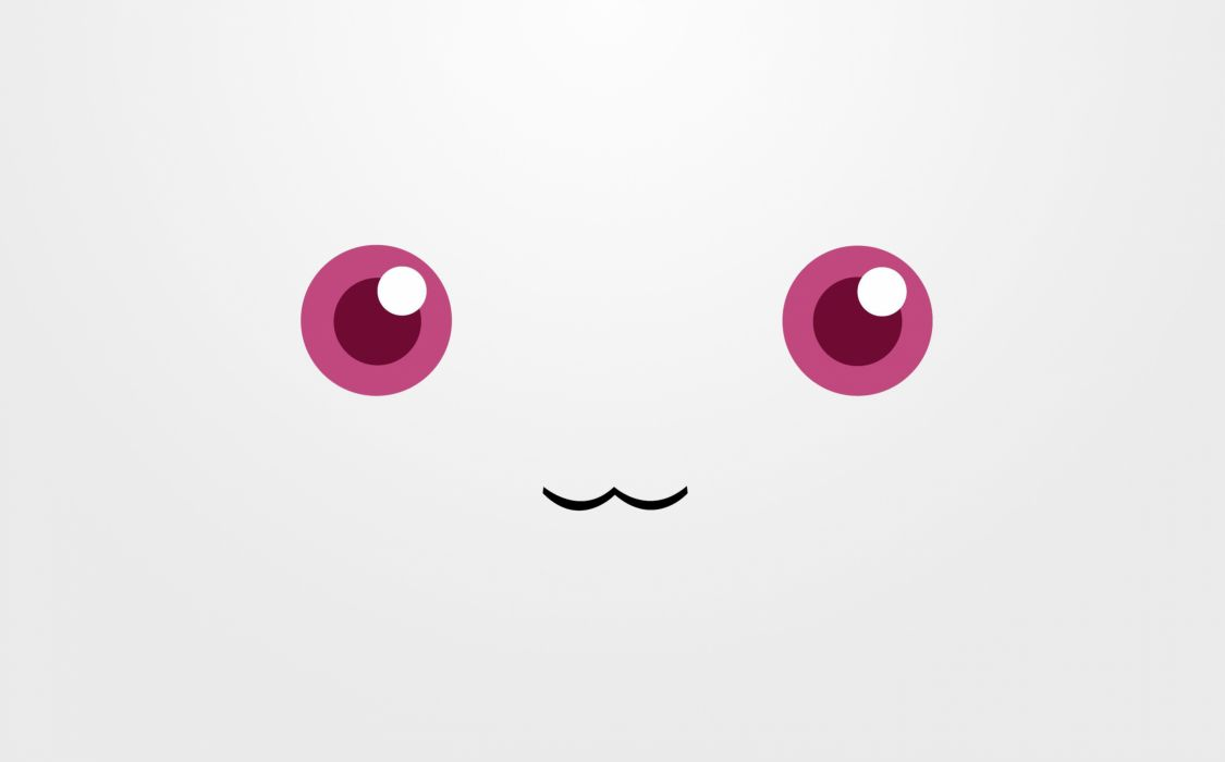 red eyes Mahou Shoujo Madoka Magica anime faces simple Kyubey wallpaper