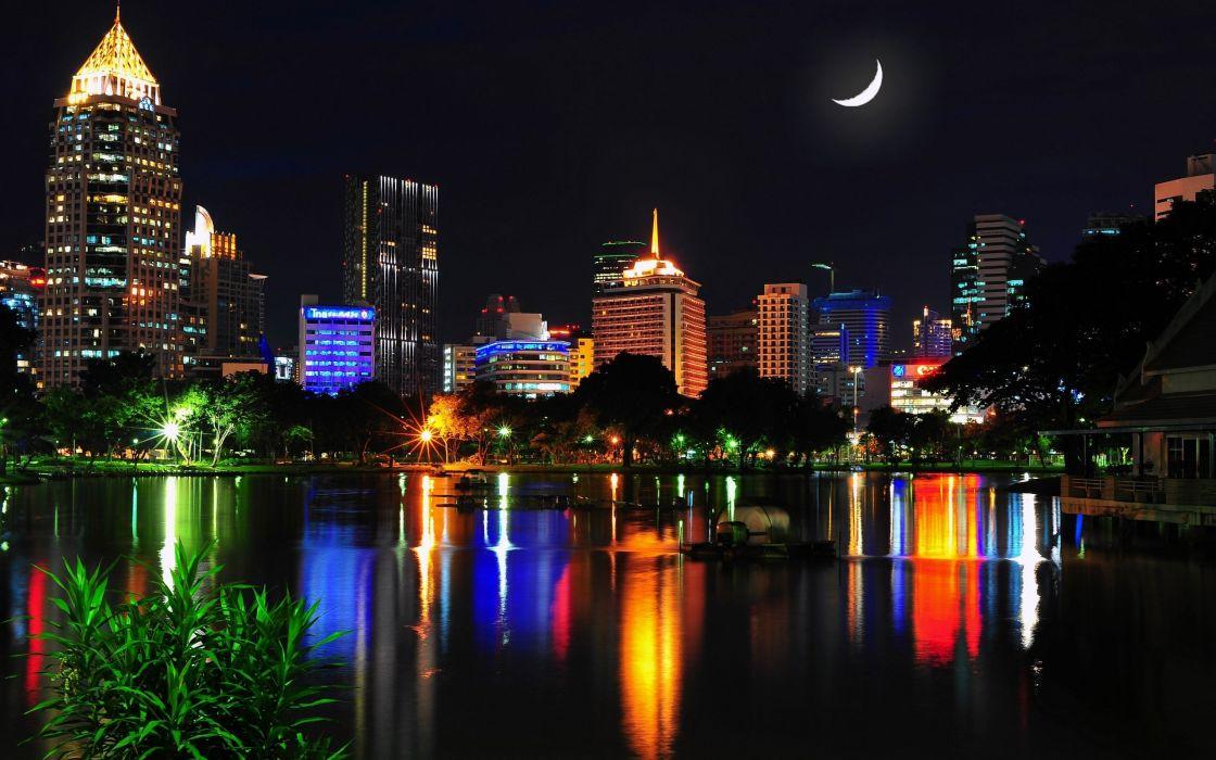 cityscapes night architecture skyscrapers rivers bangkok wallpaper