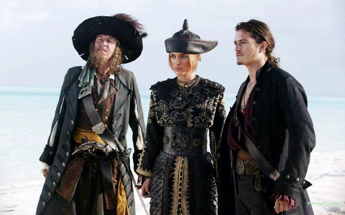 Keira Knightley Pirates of the Caribbean Orlando Bloom Geoffrey Rush Captain Hector Barbossa Elizabeth Swann wallpaper