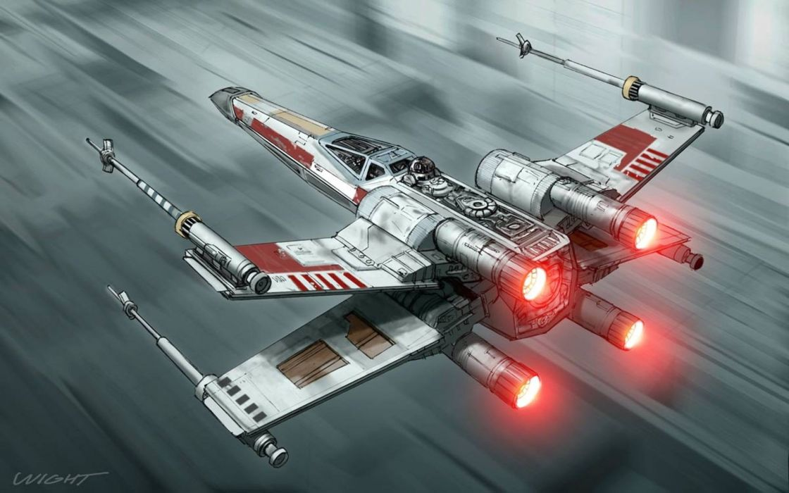 Star Wars paintings R2D2 spaceships drawings fan art x-wing Fighter fighters wallpaper