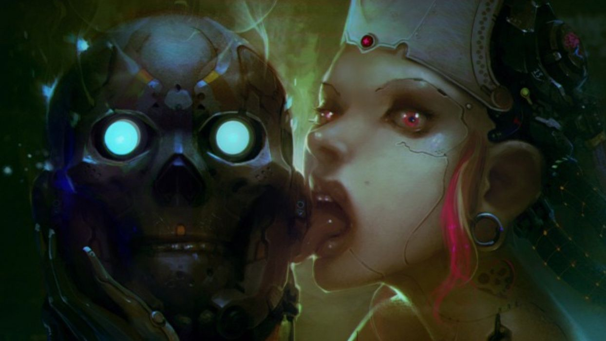 creepy skulls robots cyberpunk piercings artwork androids wallpaper