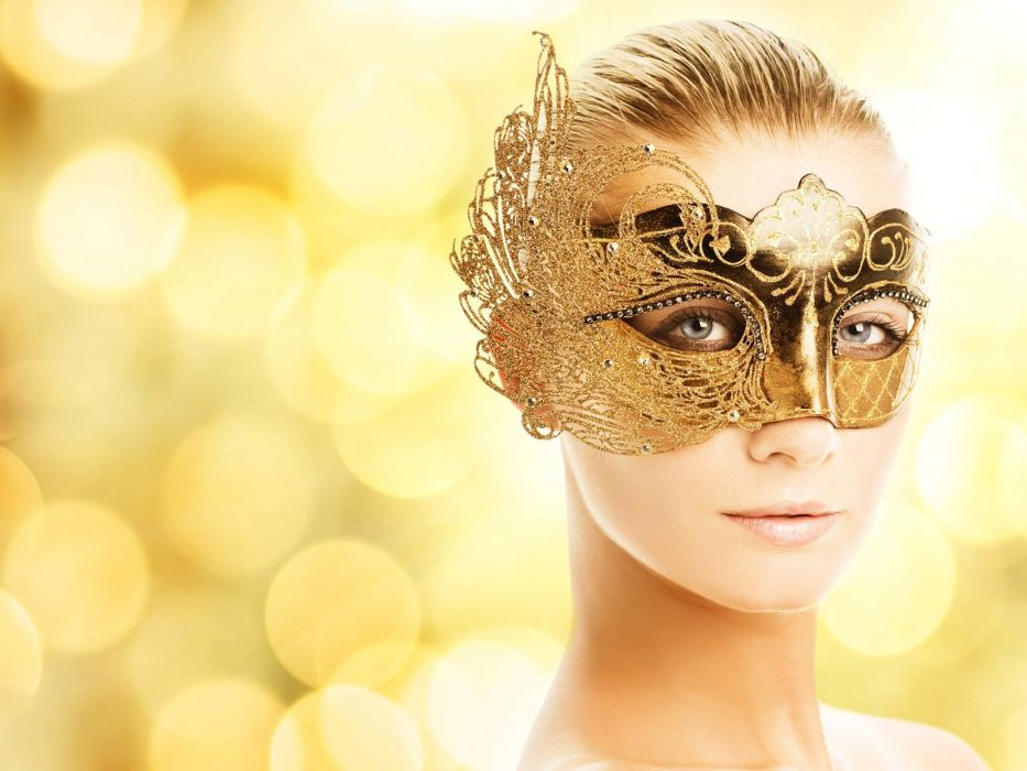 women golden bokeh masks Venetian masks wallpaper