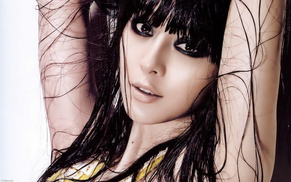 brunettes women models wet Asians wallpaper