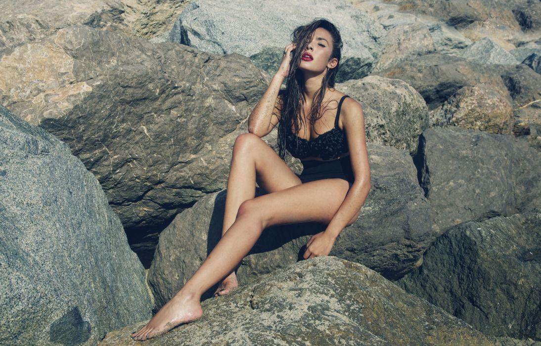 Ana Moya Calzado swimsuit model sexy babe wallpaper