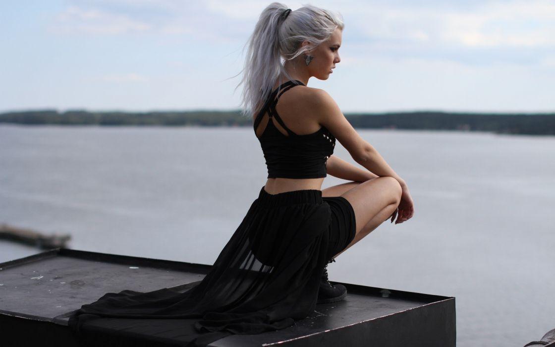 girl black river pose model babe mood blonde wallpaper