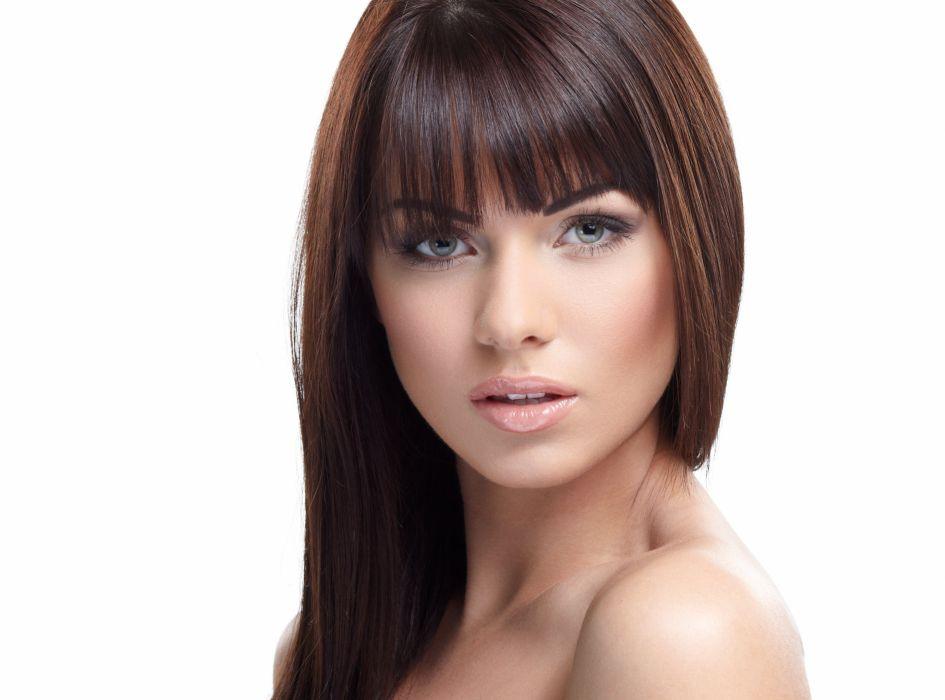 girl eyes face eyes green white brunette model babe wallpaper