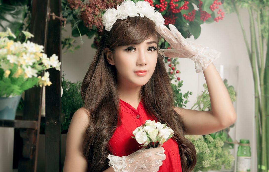 Linh Napie asian gloves flowers babe flower wallpaper