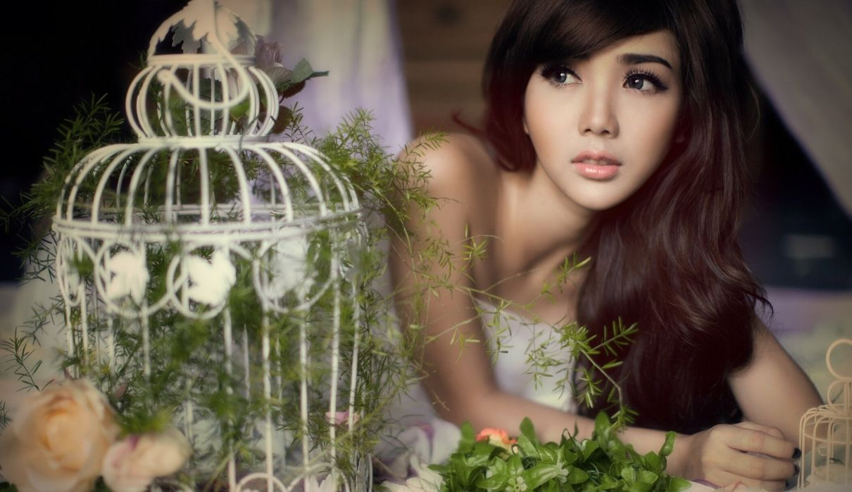 Linh Napie asian gloves flowers babe mood wallpaper