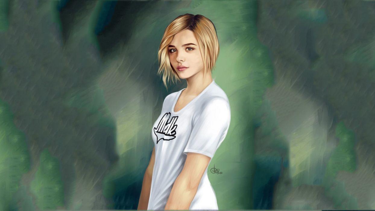 ubivashka Chloe Moretz blonde painting mood wallpaper