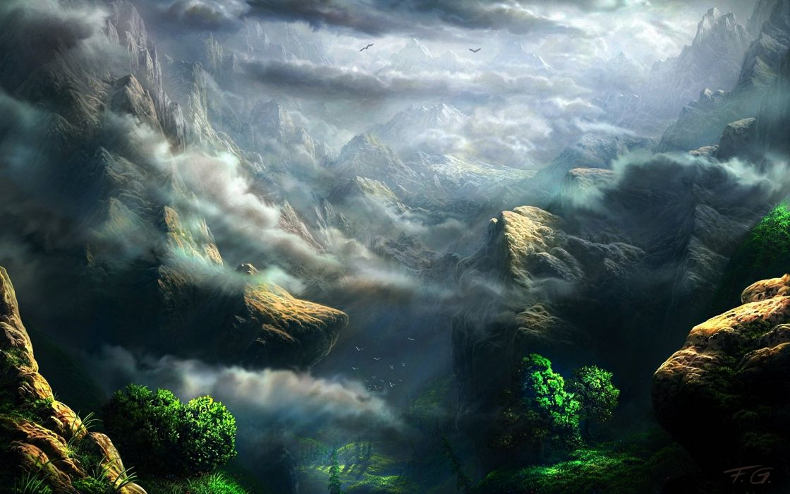 art fel-x clouds rocks mountains height painting wallpaper