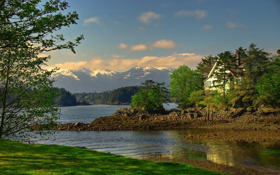 lake house mountains painting wallpaper