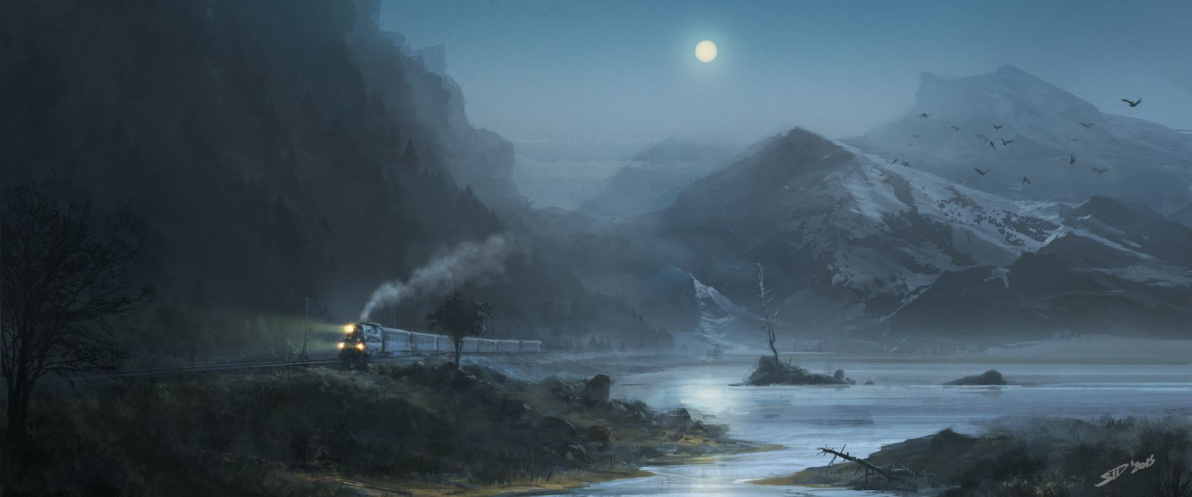 moon birds lake mountains train night painting wallpaper