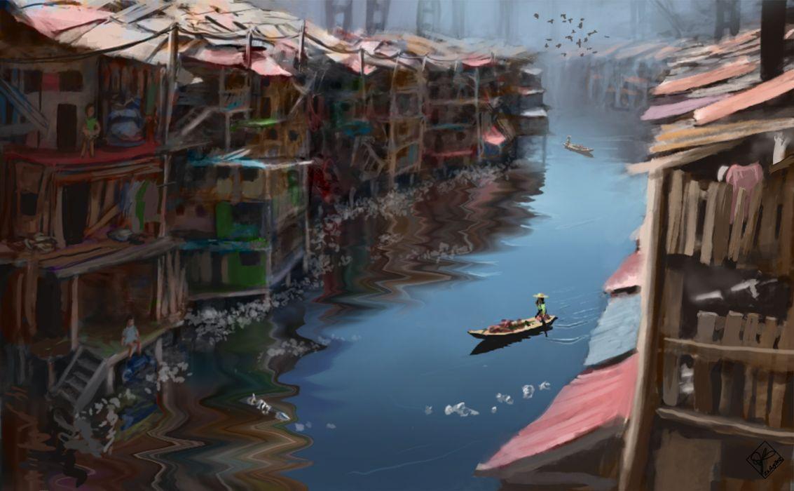 river house feed shacks art painting wallpaper