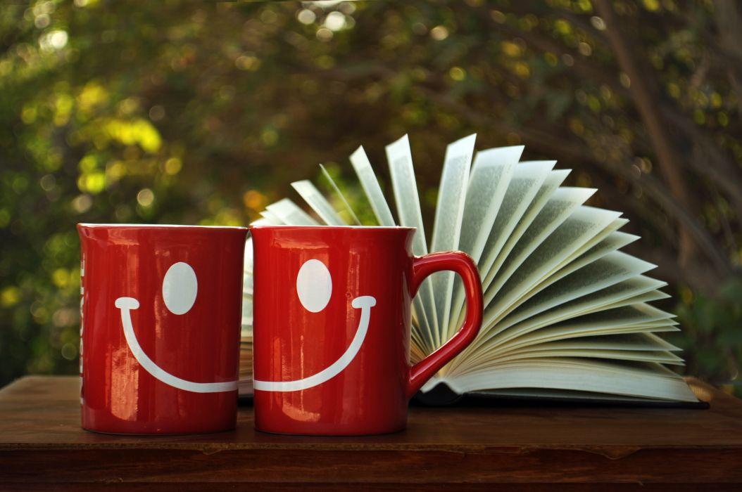 smile drawing cup book red mood bokeh wallpaper