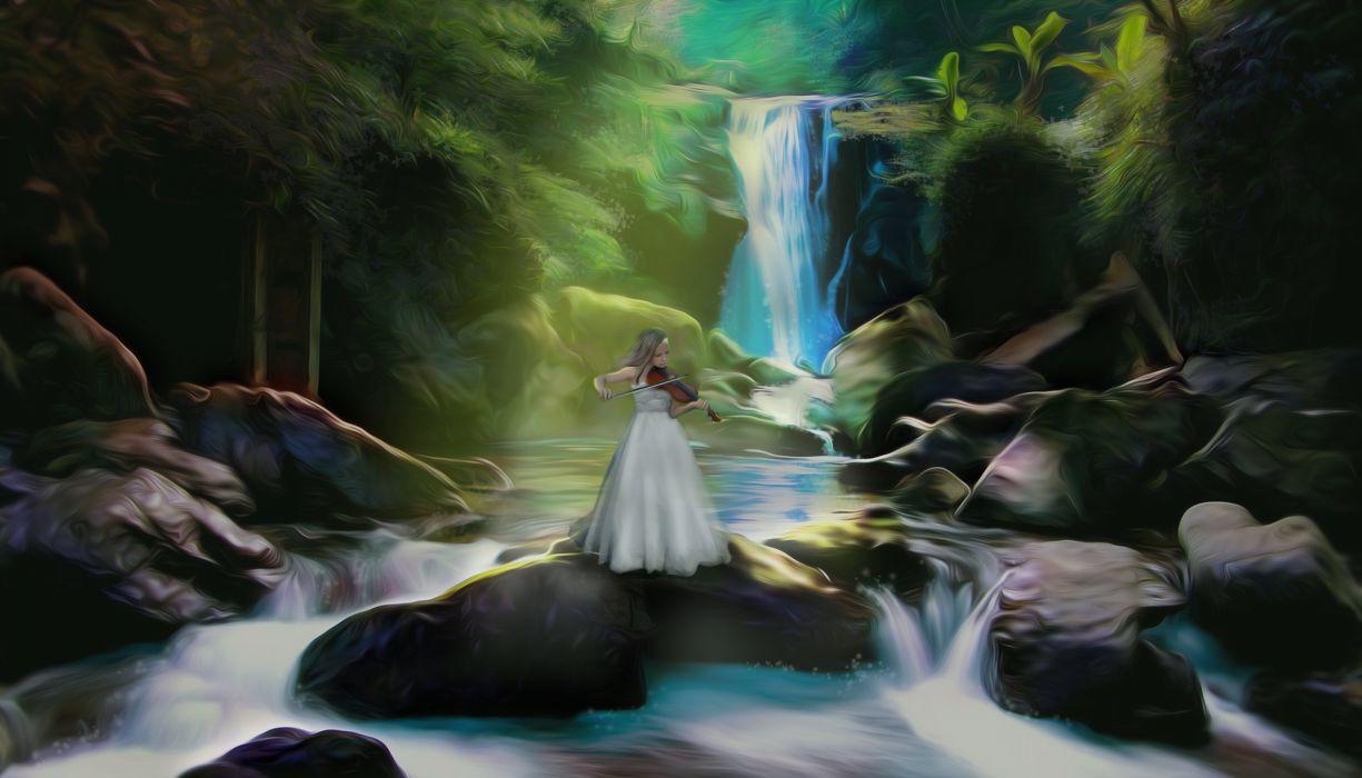 Art girl music violin nature waterfall mood fantasy girl river wallpaper