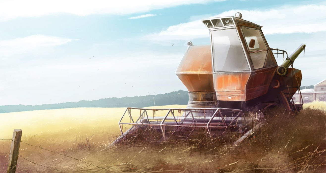 tractor nature field field forage farm wheat grass landscape painting wallpaper