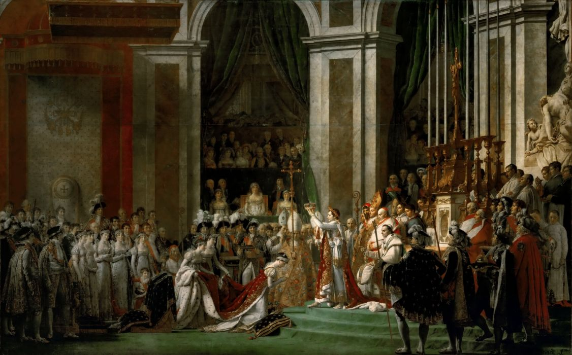 Coronation of the Emperor Napoleon painting art wallpaper