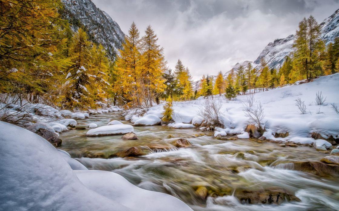 engadin schweiz val bever autumn winter snow river mountain wallpaper