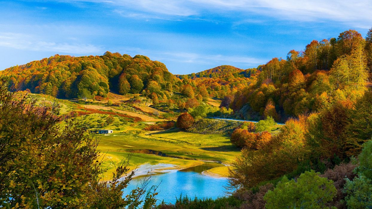 forest hills lake autumn wallpaper