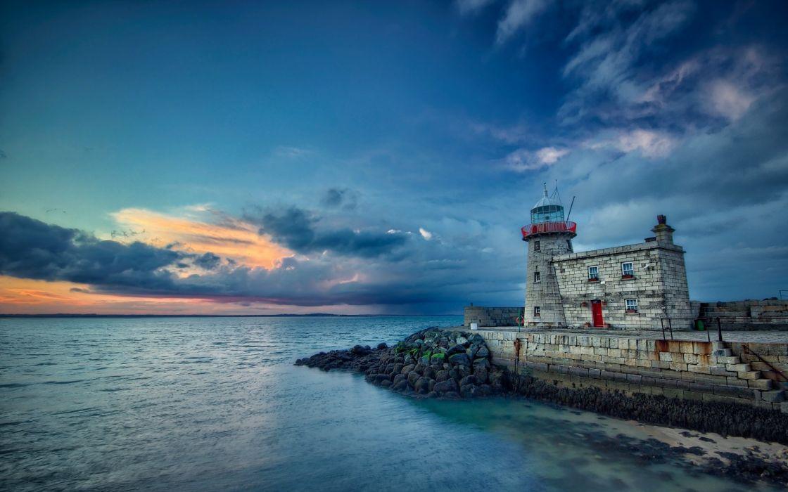 lighthouse sea clouds sunset wallpaper