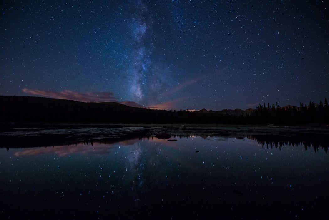 milky way stars forest lake night wallpaper