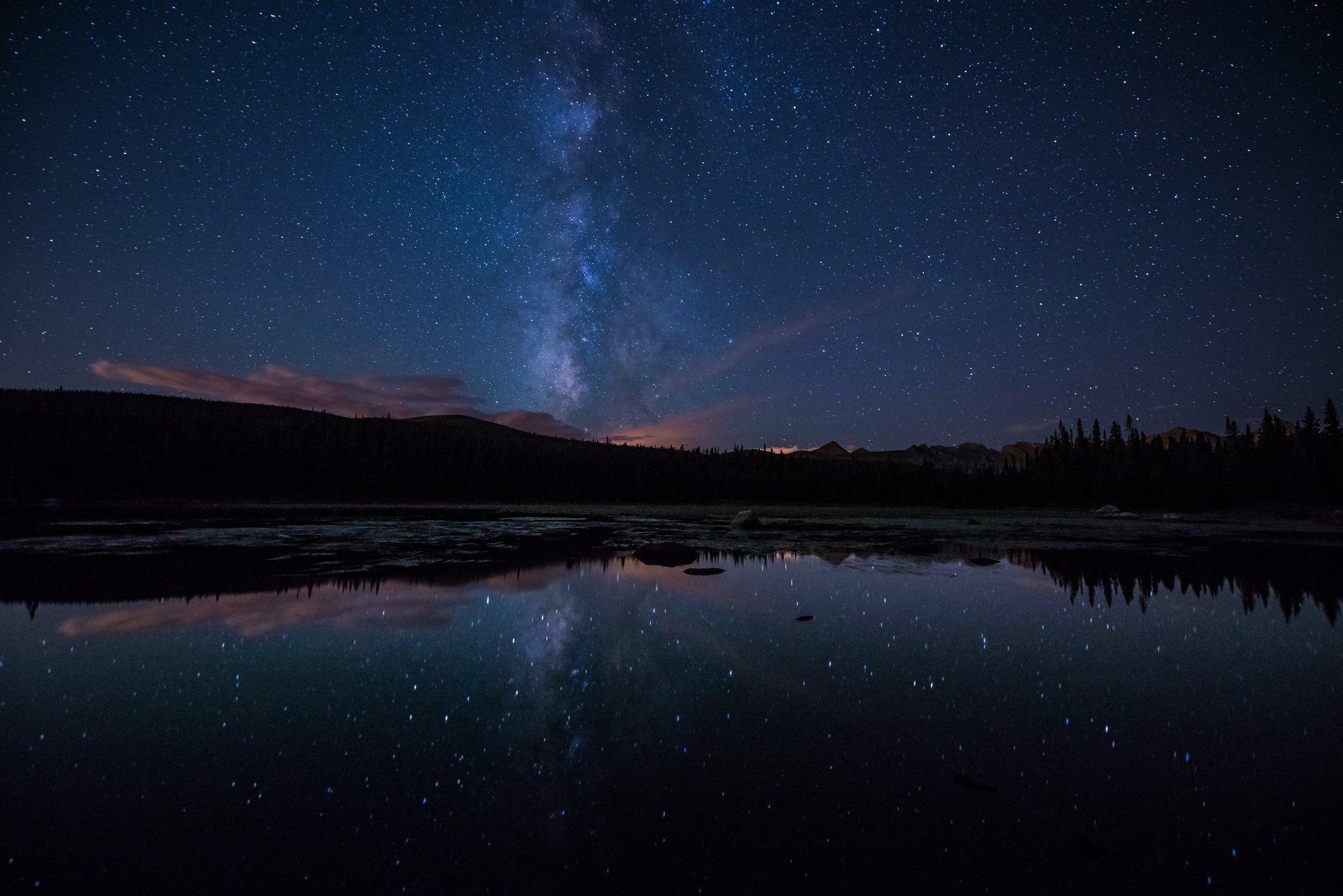Milky Way Stars Forest Lake Night Wallpaper 2048x1367