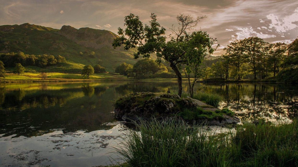 mountains evening lake trees wallpaper